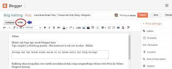 cara membuat blog tulisan tutorial blog cara buat kotak teks tulisan kat entry blogpost