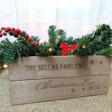 personalised family name engraved christmas eve box wooden