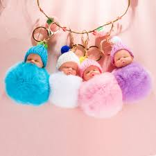 baby keychain zoeber sleeping baby doll keychain pompom rabbit fur car