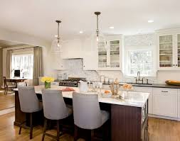 Kitchen Light Fixtures Over Island by Beautiful Kitchen With Large Clear Glass Bell Jar Pendants Over