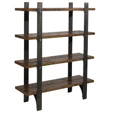 metal and wood bookshelves design with freestanding wooden shelves