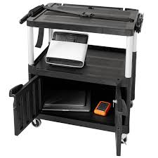 Rubbermaid Computer Desk Fg9t2900bla Black Mediamaster 32
