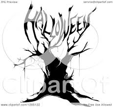 black halloween tree clipart of a black bare tree with a spider web and branches