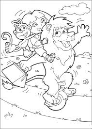 dora boots travelling circus lion coloring