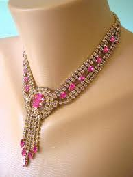 pink rhinestone necklace images Pink bridal necklace pink rhinestone choker great gatsby jewelry jpg