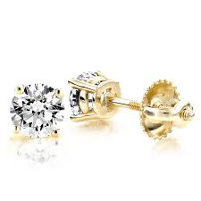 gold diamond stud earrings 53 diamond earrings for women 1 carat 18k 3 4 carat 5 diamond