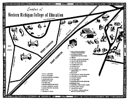Michigan Campus Map by Cartoon Campus Map 1952 Maps Western Michigan College Of