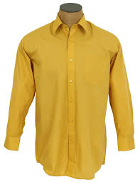 Yellow Mustard Color Solid Color Cotton Blend Dress Shirt Mustard