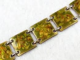 copper link bracelet images Fused glass enamel on copper bracelet garden party collection jpg