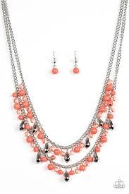 orange beads necklace images Paparazzi quot mardi gras glamour quot orange beads silver chain necklace jpg