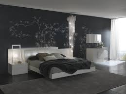 Bedroom Design With Black Furniture Bedroom Design In Black Color Dominant With Branches Painted Wall