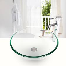 bathroom round glass vessel sink clear bowl faucet pop up drain