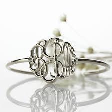 monogram bangle bracelet personalized monogram bangle bracelet painted silver