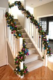 staircase lighted garland and ornaments i want to do