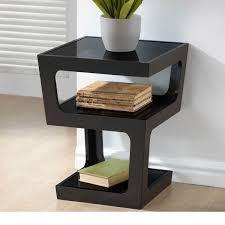 Modern End Tables Tempered Glass Tops Black Oak Veneer On The Shelves Of