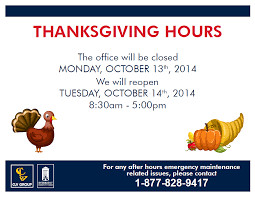 thanksgiving weekend hours clv for apartment