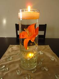centerpieces with candles floating candle wedding centerpiece kit orange lilies led lights