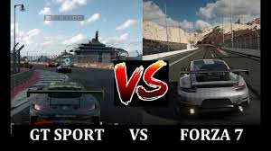 comparaison siege auto gt sport vs forza 7 gameplay comparison ps4 vs xbox one ps4 pro