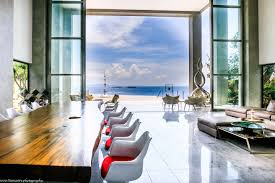 house by the sea u2013 view of living room infinity pool and sea