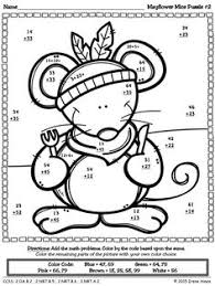 thanksgiving math activities mayflower mice color by code 2