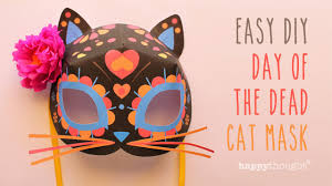 day of the dead cat mask free diy template youtube