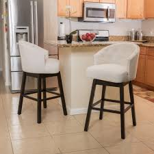 Fabric Swivel Chairs by Contemporary Beige Fabric Swivel Backed Barstool Set Of 2 Ebay