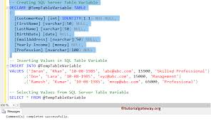 sql server create table syntax table variable in sql server