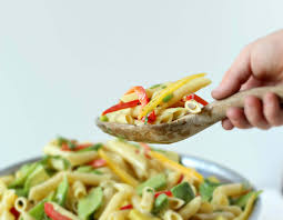 avocado pasta salad with a creamy dijon mustard dressing