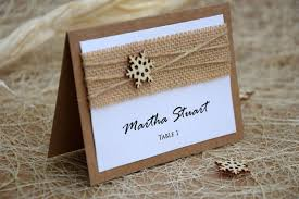 winter place cards rustic place cards burlap wedding winter