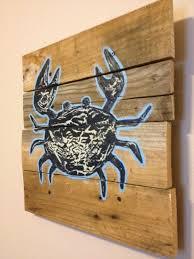 crab 20 20 seashore rustic wall art wood pallet art blue crab crab