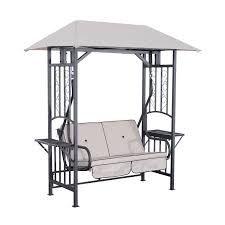 Textilene Patio Furniture by Outsunny Garden Textilene 2 Person Swing Chair Beige Aosom Co Uk