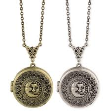 round locket necklace images Antiqued sun moon round locket long necklace jpg