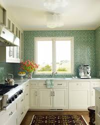 kitchen green glass subway tile backsplash kitchen transitional