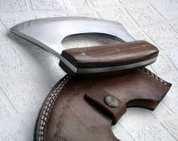 rk handmade 440c stainless steel ulu kitchen knife u2013 walnut wood