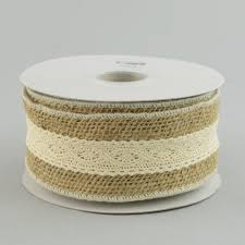burlap and lace ribbon 2 5 burlap ivory lace ribbon 10 yards rn4769 craftoutlet