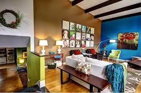 bedroom eclectic living room design with photo collage ideas and