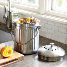 compost canister kitchen stainless steel compost pail 1 gal williams sonoma