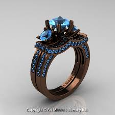 blue wedding rings exclusive 14k chocolate brown gold three blue topaz