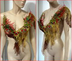 red gold siren mermaid shell bra cosplay dance costume rave bra