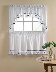 Sears Bathroom Window Curtains by Blueberries 5 Piece Kitchen Curtain Tier Set Curtainworks Com