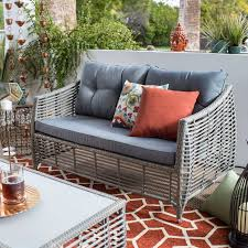 Ideas For Outdoor Loveseat Cushions Design Belham Living Kambree All Weather Wicker Loveseat With Cushion