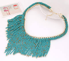 bib necklace beaded images Wholesale turquoise beaded tassel statement bib necklace yiwuproducts jpg