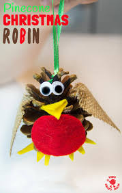 Kid Crafts For Christmas - pine cone craft christmas robin ornament