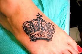 black queen crown tattoo on foot