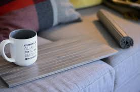 sofa tray table flexible wood slat driftwood gray large woodwaves