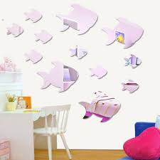 compare prices on bedroom wall deco online shopping buy low price lovely swimming fish acrylic wall mirror stickers for kids nursery girl boy bedroom wall deco