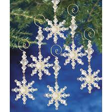 8 piece snow crystal dangler bead ornament kits diy beaded