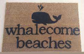 whalecome beaches doormat by justsmilealways on etsy https www