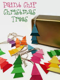 fun and easy craft paint chip christmas tree ornaments and gift