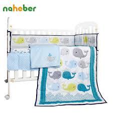 Whale Crib Bedding 8pcs Newborn Baby Bedding Set Cotton Crib Bedding Whale